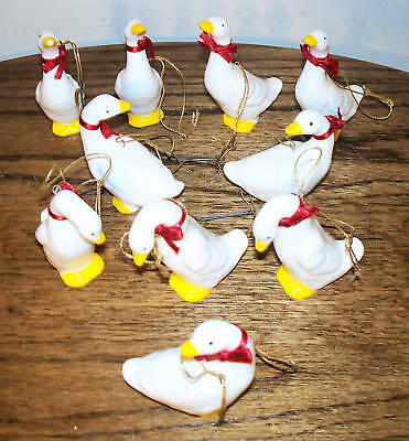 """Lot of 10 Ceramic GEESE w/ cord & ribbon - @ 3"""" tall"""