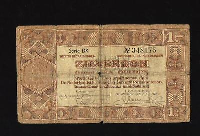 Rare! Bank Of Netherlands Money Zilverbon October 1938