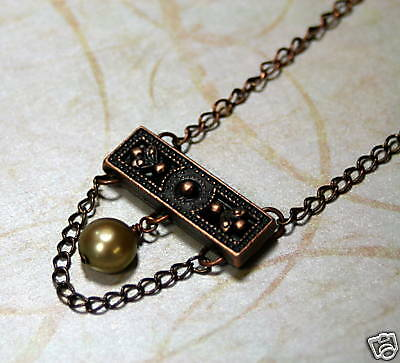 TUSCANY  Freshwater Olive Pearl Copper Petite Necklace
