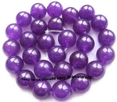 14mm Purple Jade Round gemstone Beads 15''