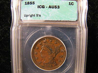 1855 Braided Hair Large Cent ICG AU 53