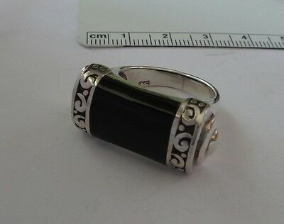size 8 Sterling Silver 13x28mm top on 7g Rectangle Black Onyx Ring