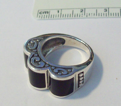 size 8 Sterling Silver 10x24mm top on 10 gram 3 Curvy Black Onyx Ring