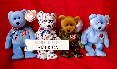 Four Americana Ty Beanies w/ Patriotic Sign Fourth July