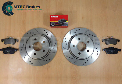 Ford Focus ST225  2.5 Rear Drilled Grooved Brake Discs & Mintex Pads