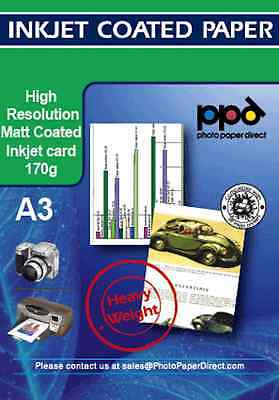 PPD 100 Sheets A3 Matt Coated Photo Quality Paper 170g