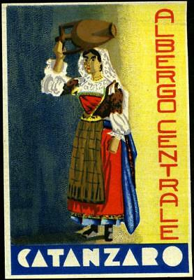 Hotel Centrale ~CATANZARO ITALY~ Beautiful & Artistic Old Luggage Label