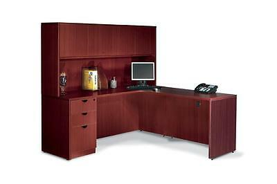 Executive Laminate L Shape Office Desk with Hutch
