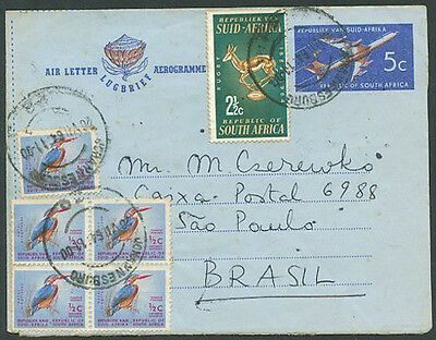BRITISH SOUTH AFRICA TO BRAZIL Double Air Letter VERY RARE! VF