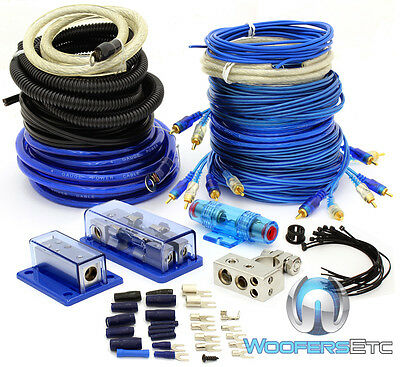 4 GAUGE & 8 GAUGE 2 WAY AMP POWER WIRES RCA 2000 WATT INSTALL AMPLIFIER KIT 0 6