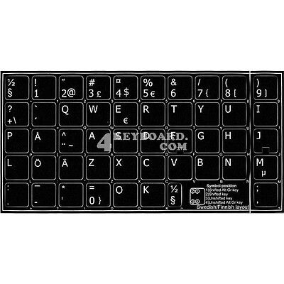 Swedish / Finish Non-Transparent Keyboard Sticker Black