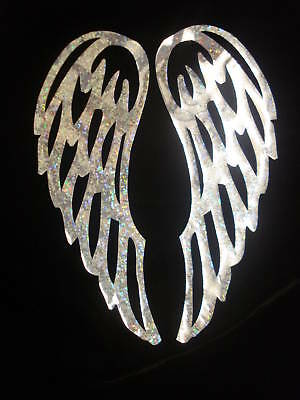 Holo silver ANGEL WING S IRON-ON transfer APPLIQUE