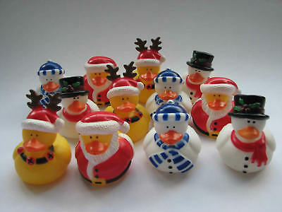 12 Christmas Rubber Ducks Secret Santa Xmas Duck Filler