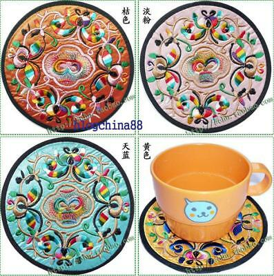 Wholesale4pair/8pcs Chinese Handmade Silk Embroidered Cup Mat Pad Coaster