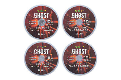 Brand New ESP Ghost Fluorocarbon Hooklink 20m - All Breaking Strains Available