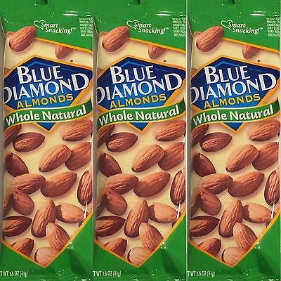 Blue Diamond Almonds Whole Natural - 12 1.5oz 43g Bags  Free Shipping