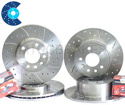 Peugeot 206 GTi 180 Drilled Grooved Brake Discs Front Rear and Mintex Pads