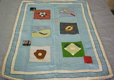 SPORTS Handmade Appliqued Patchwork Baby Cot Quilt BRAND NEW