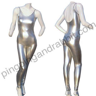 metallic silver chrome snake unitard bodysuit jumpsuit