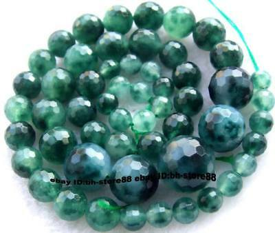 6-14mm green Jade round faceted graduated gem Beads 15""