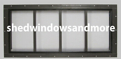 "10"" x 23"" Brown Transom Window for Storage Sheds SAFETY GLASS"