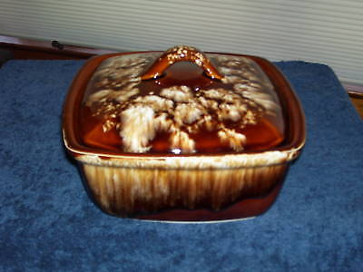Vintage BROWN DRIP Covered Casserole R.R.P.Co. Pottery