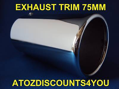 Universal Chrome Exhaust 75MM STRAIGHT Tail Pipe Trim