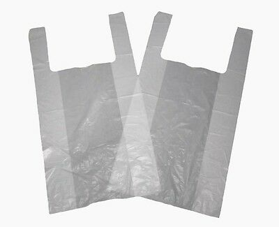 """2000 Small White Carrier Bags Vest Style 10""""x15""""x18"""" 12mu"""