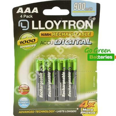 4 x Lloytron AAA 900 mAh Rechargeable Batteries, Cordless Phone 1.2V NiMH HR03