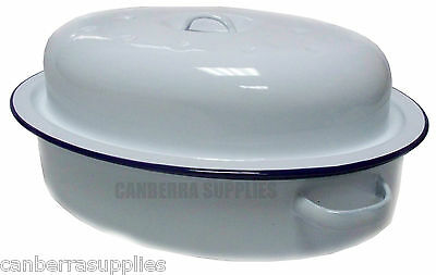 Falcon Enamel Oval Roaster - Traditional White 26cm