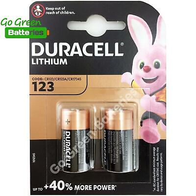 2 x Duracell CR123 3V Ultra Lithium Photo Battery 123 DL123A CR17345 2027 Expiry