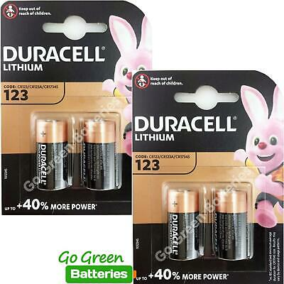 4 x Duracell CR123 3V Lithium Photo Battery DL123A CR17345 2029 Expiry NEW PACKS