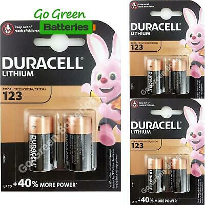 6 x Duracell CR123 3V Ultra Lithium Photo Battery 123 DL123A CR17345 2027 Expiry