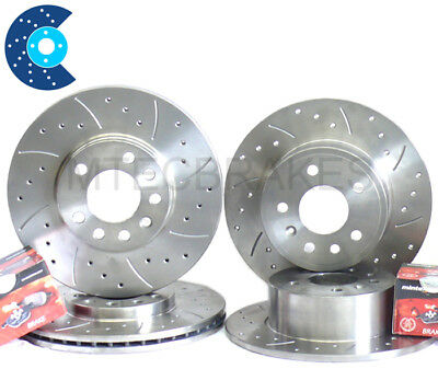 Lexus IS200 Front Rear Drilled Grooved MTEC Brake Discs & Mintex Brake Pads