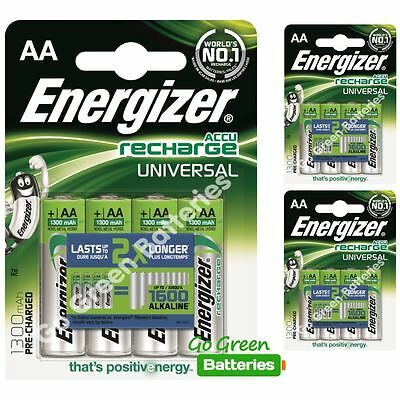12x Energizer AA 1300 mAh Rechargeable Batteries Universal NiMH HR06 Pre Charged
