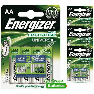 16x Energizer AA 1300 mAh Rechargeable Batteries Universal NiMH HR06 Pre Charged