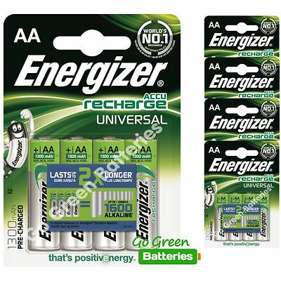 20x Energizer AA 1300 mAh Rechargeable Batteries Universal NiMH HR06 Pre Charged