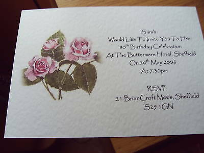 5 BIRTHDAY INVITATIONS PERSONALISED 40th 50th 65th 70th 80th 90th ROSES