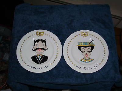 """Vintage Hand-Painted """"CHUCK & RUTH"""" PLATE Arts & Crafts"""