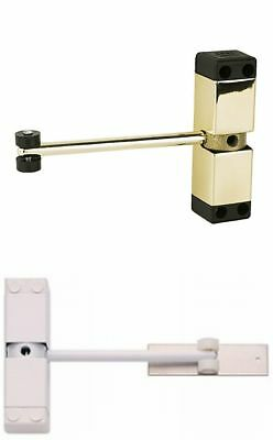 SURFACE MOUNTED DOOR CLOSER, WHITE/BRASS MAX WT 40Kg