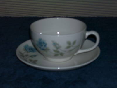 Syracuse China CONCORD ROSE Cup & Saucer Blue & White