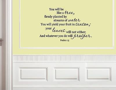YOU WILL BE LIKE A TREE Psalm 1:3 Vinyl Wall Quotes saying decals #0989