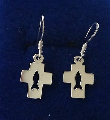Sterling Silver Small 15x8mm Cross Cut Out Christian Fish on 14mm wire Earrings
