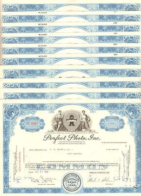 Lot of 10 PA stock certificates > Perfect Photo, Inc.