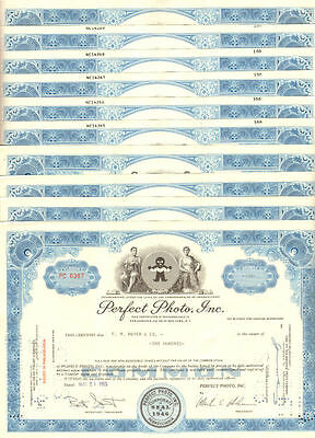 Lot of 10 PA stock certificates   Perfect Photo, Inc.