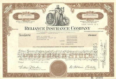 Reliance Insurance Company > stock certificate share