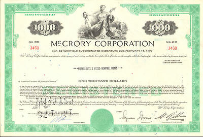McCrory Five & Dime stores   stock certificate share