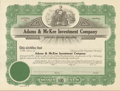 Adams & McKee Investment Company > California stock certificate