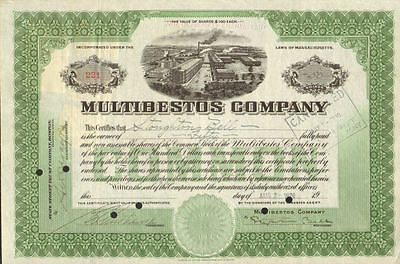 Multibestos Company   MA stock certificate SIGNED BELL