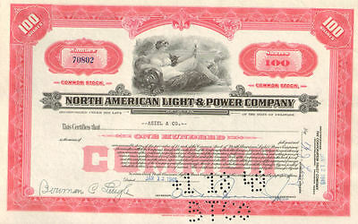 North American Light & Power > stock certificate share